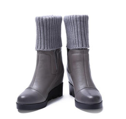 Wholesale Wedge Ankle Wool Boots - Increased in the new winter 2016 plus leather wedge short boots pile shoes leisure wool tube boots Martin boots