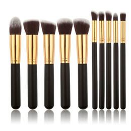 Wholesale eyeshadow leather case - New version 10pcs Make Up Brushes Professional Portable Full Cosmetic Brush Eyeshadow Lip Brush leather case DHL free