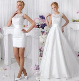 Nuovi abiti da sposa in pizzo 2 in 1 con gonna staccabile scollo a barchetta due pezzi una linea abiti da sposa vestido de noiva su misura da