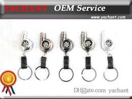 Wholesale Euro Key Chains - Auto Parts Model Type 2 Spinning Ring Turbo Charger Key chain without Whistle Sound Key ring Spool Drift JDM TDI VAG Euro Keyfob