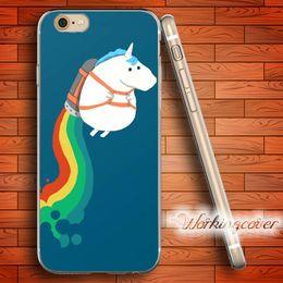 Wholesale Iphone 4s Case Rainbow - Fundas Unicorn Rainbow Soft Clear TPU Case for iPhone 7 6 6S Plus 5S SE 5 5C 4S 4 Case Silicone Cover.