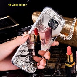 Wholesale Diamond Galaxy Case - For Samsung Galaxy S6 S7 edge Note 4 5 Bling Glitter Mirror Cases Diamond Crystal back Cover Slim Soft TPU Electroplating Cell phone cases