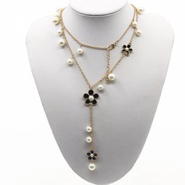 Wholesale Steel Strand - Brand New Fashion Long Strands Necklace For Women Sweater Chain Multi-layer Flower Pearl Female Necklaces Pearl jewelry Gift