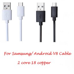 Wholesale White Mini Usb Cable - Universal Cell Phone Cable For Samsung  Android 30CM V8 Micro USB Fast Charger mini Cable 2 core 18 copper