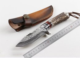 Wholesale Hand Forging Knives - Samior High Quality Hand Made Antlers Fighter Warrior Soldier Forged VG10 Damascus Fixed Blade Straight Knife Camping Hunting Outdoor KNIVES