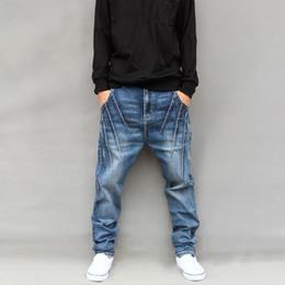 Wholesale Men S Drop Crotch Pants - Wholesale-Men Jeans Cotton Harem Pants Denim Drop Crotch Joggers Loose Elastic Stretch Long Trousers Tapered Jeans Plus Size S-6XL