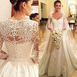 Wholesale Satin Long Sleeved Wedding Dress - Vestidos De Novia Modest Wedding Dresses Sleeves A Line Scoop Neck Lace Appliques Illusion Long Sleeved Satin Buttons Bridal Gowns