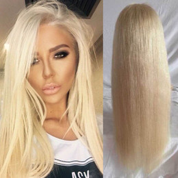 Wholesale platinum long wigs - 613 Blonde Full Lace Human Hair Wig Silky Straight Platinum Blonde Lace Front Wig Human Hair Full Lace Wig Blonde Hair