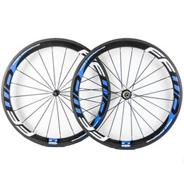 Wholesale Carbon Wheels Ffwd - 50mm Depth 23mm Width Fast Forward FFWD Blue Decal Carbon Wheels Clincher Tubular 3K Matt Full Carbon Bicycle Wheelset With Novatec 271 372