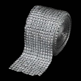 Wholesale Silver Gift Wrap Ribbon - Wholesale- 10Yards Bling Silver Diamond Mesh 12 Rows Pyramid Sparkl Rhinestone Crystal Ribbon Trim for Wedding Party Decorations Gift Wrap