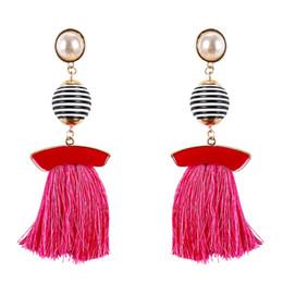Wholesale Long Stone Drop Earrings - Boho Simulated Pearl Tassel Earrings For Women Vintage Gem Stone Long Fringe Hanging Drop Colorful Earring Pendientes Jewelry