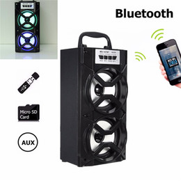 Wholesale Horn Subwoofer - LEORY MS-147BT Bluetooth Speaker Wireless Dual Horn TF Card Supported Music Speaker Portable AUX FM Radio LED Flash Speaker