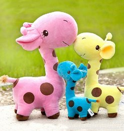Wholesale Wholesale Month Figurines - Hot style Super plush toys of giraffe figurines Super soft short plush color dot deer baby crystal