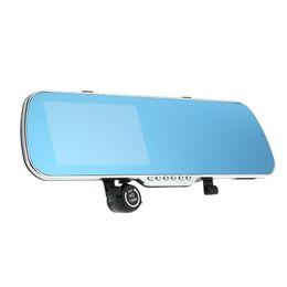 Dvr radar detector retrovisore online-Soluzione DVR per auto All Winner PZ917 5 pollici HD Touch Screen Intelligente Dual Lens GPS Tracker Rilevatore radar Specchietto retrovisore Auto DHL