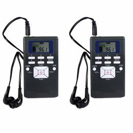 Wholesale Rechargeable Station - Wholesale-2pcs Black DSP Radio Portable FM Radio Receiver Pocket Radio Station for Large meeting with Earphone Best Y4305