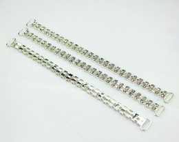 Wholesale quilt silver - 20pcs 2Rows Crystal Rhinestone Bikini Connectors Buckle Silver Metal Chain With For Swimming Wear Bikini Decoration