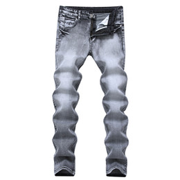 Wholesale Mens Casual Jeans Style - Mens Gray Jeans Pants New Brand Designer Slim Fit Straight Jeans For Man Cotton Casual Denim Regular Jeans Trousers High Quality