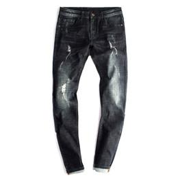 Wholesale Fly Port - Wholesale- Port&Lotus Skinny Jeans Men Ripped Pencil Jean For Men Zipper Fly Solid Color Slim Fit famous brand Clothing Men 102 wholesale