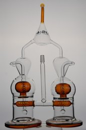 Wholesale Glass Ball Pipes - 420 logo Amazing Beast Double Recycler oil rigs water pipes with Ball perc with pinholes