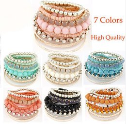 Wholesale Multilayer Resin - 9colors to choose Bohemia multilayer beaded bracelet Resin stones metal bracelet women gift mujer wrist band fashion charm Candy Color
