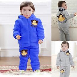 Wholesale Monkey Winter Jacket - Happy Monkey Baby Boys Tracksuits Thick Fleece Winter Warmer Infant Coat Trouser Hoodies Jacket Pant Children Sport Clothes Suit Outerwear