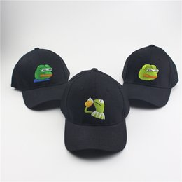 Wholesale Adult Frog Hat - Sad Kermit Tea Cap Frog Pepe Feels Bad Man Embroidery Sun-shade Snapback Hip Hop Baseball Cap The Sad Meme Frog Hat