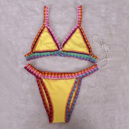 Wholesale Handmade Crochet Bikini - 2016 High Quality Female Handmade Bikini Crochet Beach Spring Manual Weave Ma'am Fission Swimming Suit Mid Waist Swimwear