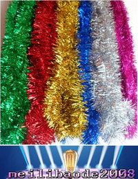 Wholesale Wholesale Christmas Tinsel Garland - hot 2.0M NEW CHRISTMAS GARLAND Tinsel 7 colors Color bar garlands free shipping MYY