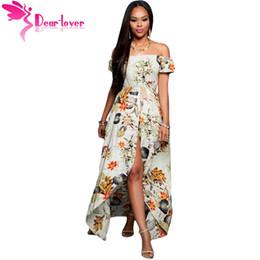 Wholesale Romper Maxi - sexy robe longue femme ete plage Beige Multi-color Floral Off-Shoulder Romper Maxi Dress vestido largo summer LC64076 17410