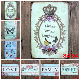 Wholesale welcome home decorations - family love Retro welcome sweet home Poetry Vintage Craft Tin Sign Metal Painting Antique Iron Poster Bar Pub Signs Wall(Mixed designs)