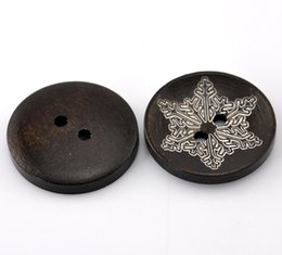 Wholesale Wooden Snowflakes - Kimter Brown Snowflake Pattern Round Wooden Sewing Buttons With 2 Holes 25mm For Sewing Embroidered Sweaters Collector Pack Of 50pcs I610L