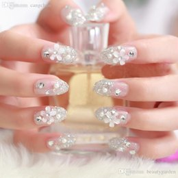 Wholesale Rhinstone Nail - Wholesale-12sets lot Lovely Flower Rhinstone False Nail Stickers Sequins Acrylic Nail Tips Girls Make Up Outfits HH302