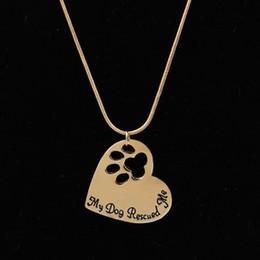 2019 спасательные собаки Мода Собака Лапа Кулон Ожерелья Моя Собака Спасла Меня Золото Посеребренные Для Женщин Ожерелья Подарок скидка спасательные собаки