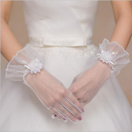 Wholesale New Style Gloves - 2016 Real Photo Simple Bridal Gloves Opera Party Gloves Wrist Length Full Finger Hand Made Flower Tulle Accessories New Style