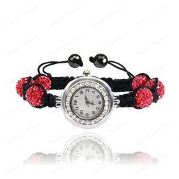 Wholesale Disco Watches - , Gift Fashion Crystal 10mm AB Clay Disco Balls Pink Color Shamballa Bracelets & Bangles Watches Wedding For Women