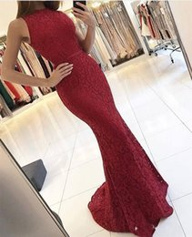 Wholesale Gold Sequin Dress Full Length - Dark Red Full Lace Mermaid Prom Dresses 2017 Sleeveless Zipper Back Long Sweep Train Evening Gowns Custom Made Formal Party Wear