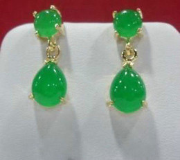 Wholesale Natural Shell Chandelier - New natural Charming green jade drop 2pc earring