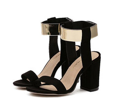 Wholesale Sexy Golden High Heels - 2017 Summer new arrival high quality elegant classic luxury brand Sexy noble Golden pumps Casual women sandals