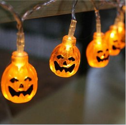 Wholesale Christmas Led Lights Series - led string Battery Operated Pumpkin series Halloween Halloween LED 10led 20led decorative night Light lamps battery lighting