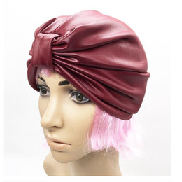 Wholesale Turban Party Women - New PU Indian Muslim Turban Cap Arabian Pleated Hats For Women 10PCS LOT