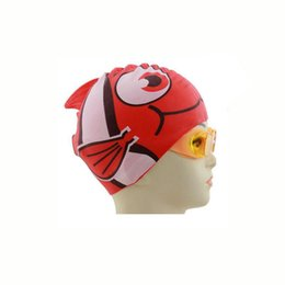 Wholesale Red Swimming Cap - Wholesale- Hot New Waterproof Silicone Swimming Cap Unisex Children Cartoon Hat Protect Ears Diving Waterproof Shark Red Free Size For Baby