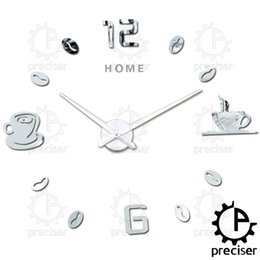 Wholesale Sticker Cup Coffee - Wholesale- Home Letters 2016 3D Diy Wall Clock Arabic Digital Coffee Cups Self-adhensive Stickers Kitchen Modern Big Clock
