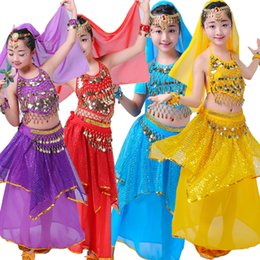 Wholesale Girls Indian Dresses - Sequined Girls Kids Belly Dance Costume Bollywood Indian dancing Dress Dancing Clothing Ballroom Performance dancing Outfits