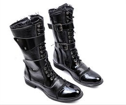 Wholesale Men Punk Boots Buckle - Wholesale- Hot Sale Brand New Men Shoes Mid Calf Boots Round Toe Faux Leather Cowboy Punk Motocycle Martin Combat Boots Black