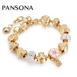 Wholesale Gold Wing Beads - Wholesale 2017 Heart Wing Animal Bead Bracelets & Bangles Gold Chain Bracelets For Women DIY Pulseira Feminina Jewelry AA142