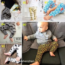 Wholesale 6 Style kids INS Leopard pp pants baby toddlers New boys girls fox dinosaur geometric figure fruit trousers Leggings B001