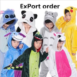 Wholesale Dinosaur Pyjamas - Kids Pikachu Pajamas Panda Unicorn Dinosaur Totoro Pyjamas Cosplay Christmas Costume Cartoon Jumpsuits Baby Flannel Sleepwear Winter Onesies
