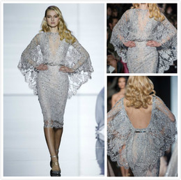 Wholesale Long Sleeve Celebrity Event Dresses - Sexy Silver Zuhair Murad Short Prom Dresses Mermaid With Cape Jewel Crystal Dresses Knee Length Backless Women Event Celebrity Pageant Gowns