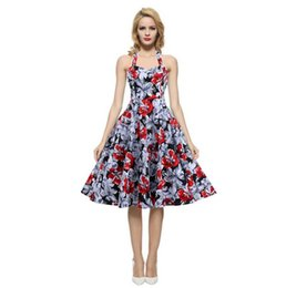 Wholesale Hang Drapes - Europe and the United States new dress female color Hepburn wind full-skirted dress hanging neck backless halter ball gown
