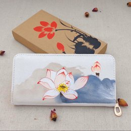 Wholesale Fresh Lotus Wholesale - New Chinese National Tourist Hot Wind Lotus Purse Hand Bag Wholesale Hanual Characteristics Phone Pocket Purse Wallet